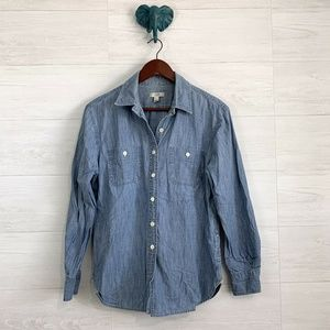 J Crew Japanese Selvedge Chambray Button Up Top